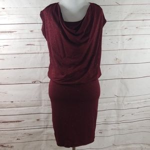 Alice & Olivia cranberry sparkle dress XS